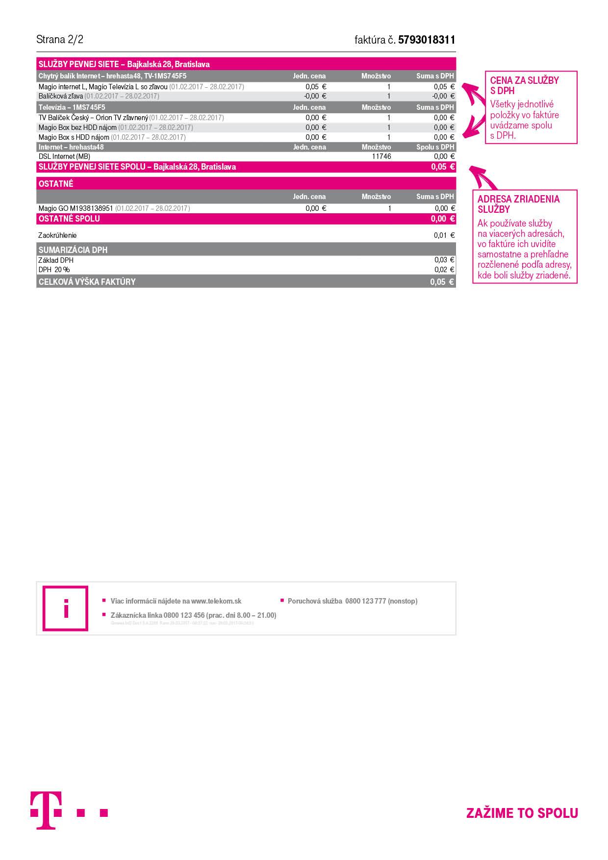 Vzor Faktúr Za Fixné Služby Telekom